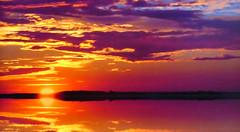 Sunset on a calm sea (Jacques Rollet (very little available)) Tags: sunset couchant sun soleil water eau ciel sky cloud nuage reflexion reflet groupenuagesetciel