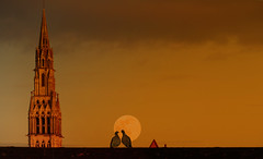 A magical moment (Le.Patou) Tags: lighting roof light sunset moon love lune evening pigeon magic belltower moonlight magical nord coucherdesoleil valenciennes clocher flickrfriday akindofmagic roucoule fz1000 hautdefrance world100f