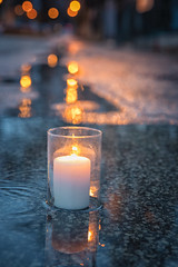 Candle in the Rain (A Great Capture) Tags: evening lights concrete road lane puddles rain candle