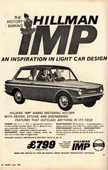 1964 Hillman IMP 2 Door Sedan Rootes Group Aussie Original Magazine Advertisement (Darren Marlow) Tags: 1 4 6 9 19 64 1964 h hillman i imp r rootes g group c car cool collectible collectors classic a automobile v vehicle b british britain e english england 60s