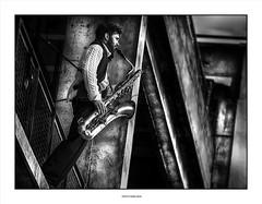 Sax in the City ... (michel di Méglio) Tags: music bw marseille olympus ombre lumiere monochrome silvereex silverefex noir ville city
