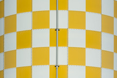 White and yellow panels (Jan van der Wolf) Tags: map19054v storagetank tank opslagtank yellow geel white wit drain rainpipe pipe pijp regenpijp patroon pattern symmetry symmetric symmetrie