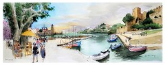 Collioure - Occitanie - France (guymoll) Tags: googleearthstreetview collioure occitanie france sketch croquis aquarelle watercolour watercolor aguarela acuarela panoramique panoramic port bateaux boats ships église church roussillon