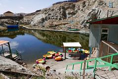 Nogoon Nuur 5 (Cath Forrest) Tags: ulaanbaatar mongolia nogoon nuur greenlake urban city gerdistrict nogoonnuur water lake boats colours jetty boathouse building fence rock cliff