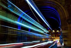 Tower Bridge Bus Trails (Douguerreotype) Tags: london uk bridge dark light british street architecture arch city britain night bus gb urban england