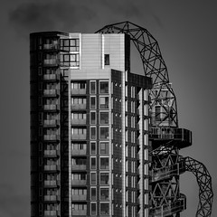 Alien Invasion... (Aleem Yousaf) Tags: alien invasion metal monstor tower block balconies lens compression composition monochrome scifi luminosity masking camera digital queen elizabeth olympic park stratford west ham east london cityscape arcelormittal orbit slide viewing terrace vantage point sclupture anish kapoor cecil balmond architecture modern design lights shadows black white mono nikon nikkor 200500mm zoom sky clouds photography photo walk skyscraper sunlit bright flickr