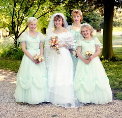 Bride and bridesmaids (vintage ladies) Tags: 80s 80swedding portrait photograph bride 80sbride 80sstyle female woman lady wedding weddingdress man male groom bouquet beauty beautiful lovely