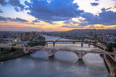 Brisbane west sunset (Lance CASTLE) Tags: bridges outdoor sky clouds sunset river cityscape pinterest flickriver australian queensland brisbane colour