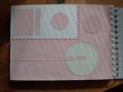 The last page of Pink mania ledger (Landanna) Tags: embroidery embroideryonpaper broderi broderipåpapir borduren bordurenoppapier paperart paperwork paper papier papir handmade handgemaakt handwerk håndlavet journal ledger sketchbook pink lyserød roze