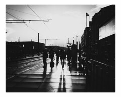 bordeaux (Mériol Lehmann) Tags: tram bordeaux urban france gironde street people shadows cityscape sunlight aquitaine blackandwhite tramway waiting