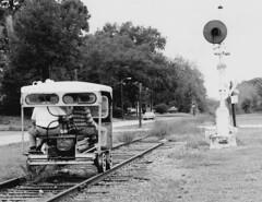 Center Hill, 1978 (clarkfred33) Tags: motorcar railmotorcar speeder centerhill historic historicphoto floridahistory aclhistory 1978 abandoned adventure railroadadventure signal railroadsignal