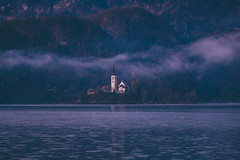 Sunrise at Lake Bled (freyavev) Tags: bled lakebled slovenija slovenia lake water balkan balkans nature hiking sunrise church fog hills vsco mikasniftyfifty canon canon700d outdoor moody atmospheric