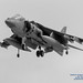 B&W of Hovering AV-8B Harrier With Nozzles Down