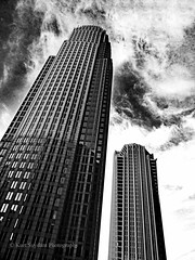 Bank of America, Charlotte (Kurtsview) Tags: northcarolina charlotte skyscraper citycenter clouds bw blackwhite