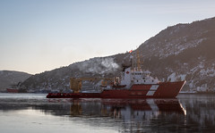 Late for Work ... (vanessa violet) Tags: friday morning late work lateforwork runninglate earlgrey harbour stjohns winter cold ice ocean sea water snow boat ship canada canadiancoastguard hills reflection calm red coastguard fisheriesandoceans