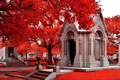 New Orleans Metairie Cemetery (infrared) (dr_marvel) Tags: ir infrared neworleans nola red trees leaves foliage cemetery tombs graves burials mausoleums stone vases urns resting