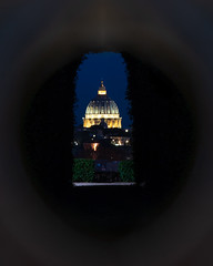 Vatican Keyhole (JH Images.co.uk) Tags: rome italy night vatican roma church cathedral dome keyhole key hole symmetric hdr dri illuminated