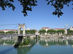 Passerelle du Collège, Rhône River, Lyon, France (Paul McClure DC) Tags: lyon france july2017 auvergnerhônealpes historic architecture river scenery rhône presquîle
