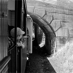 Looking Back (Mary Faith.) Tags: 13 steam train boy bridge fence arch bank texture carriage graffiti