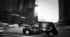 Tokyo Taxi (ChrisRSouthland (mostly off, traveling & working)) Tags: elmarit28mmf28 leicammonochrom mmonochrom mm street tokyo bw blackwhite blackandwhite monochrome taxi traffic blur icm intentionalcameramovement