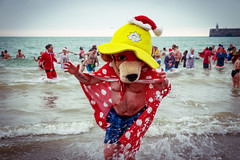 Bear Attack! (BeerAndLoathing) Tags: 2018 spray folkestone englandtrip england winter uktrip water canon kent sea uk canoneos77d beach events crowds people motion boxingday cold trip december seafront 77d winter2018 sigma18300mm