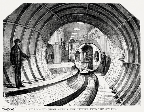 Illustration of the view when looking from within the tunnel into the station from Illustrated description of the Broadway underground railway (1872) by New York Parcel Dispatch Company.