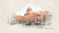 Lewisville City Hall, watercolor treatment. (peppermcc) Tags: lewisvilletexaswatercoloriphoneiphonephotographyicolorama