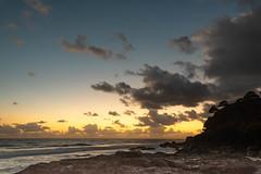 Snapper Rocks Morning (armct) Tags: sunrise morning dawn rocks surf waves reflection golden sky cloud horizon skyline cliff sand ocean view shore coastline rockpools silhouette trees railing star morningstar