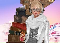 Books and friends are the joy in life (Kaciee (MV♛ Cuba 2016&17Denmark 2015)) Tags: kaciee model valentine photo mesh maitreya ikon laq lara glasses epic hamster nerd girl fashion flickr modeling love secondlife virtual fashionstyle sl style sexy beauty