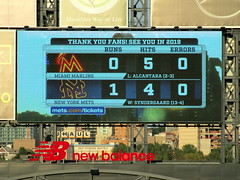 Citi Field, 09/30/18 (NYM v MIA): the final score, as shown on the right field scoreboard - New York 1, Miami 0IMG_4618a) (Gary Dunaier) Tags: ballparks baseball stadiums stadia mets newyorkmets flushing queens newyorkcity queenscounty queensboro queensborough citifield