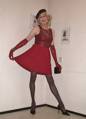 A red dress. (sabine57) Tags: crossdressing transvestism crossdress crossdresser cd tgirl tranny transgender transvestite tv travestie drag pumps highheels pantyhose tights opaquepantyhose opaquetights dress reddress gloves longgloves beret handbag purse clutch choker