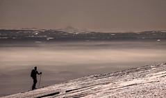 le randonneur à ski avec au fond le Mt Blanc (mrieffly) Tags: grandballon alsace htrhin hautesvosges canoneos50d neige brouillard brumes