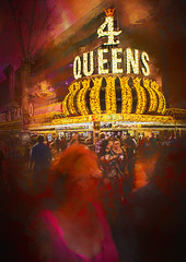 4 Queens (Wes Iversen) Tags: 4queens fremontstreet fremontstreetexperience lasvegas nevada nikkor18300mm casinos crowds hotels lights men neon neonsigns night painterly people signs texture vacations women