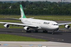 EP-MMD Airbus A340-313X EDDL 21-05-17 (MarkP51) Tags: epmmd airbus a340313x a340 mahanair w5 irm dusseldorf flughafen airport germany airliner aircraft airplane plane image markp51 nikon d7200 sunshine sunny