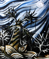 Lonely Windmill (Skyler Brown Art) Tags: acrylic architecture art artwork blue canvas dark depressing gothic moon paint painting sad windmill winter