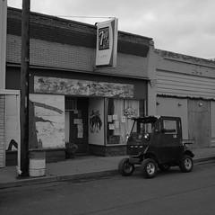 La Crosse, Washington (austin granger) Tags: washington lacrosse palouse tavern bar sidewalk dusk golfcart evidence butchspastimetavern film rural sign square gf670