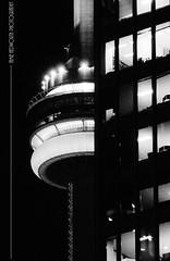 Skypod Windows at Night Monochrome (Jamie Hedworth) Tags: cntower toronto ontario canada nightphotography monochrome blackandwhitephotography jamiehedworthphotography sonydslra390