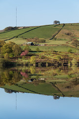 May Days and Evenings 108 - Holme Moss reflected in Digley (Mark Schofield @ JB Schofield) Tags: pennine way south pennines peak national park trust hills moors vallies valley reservoir water peat moorland bog moss agriculture yorkshire huddersfield wessenden head pule buckstones scammonden royd edge holme colne marsden meltham digley march haigh west nab deer emley mast spring