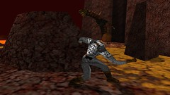Basilisk Blocked (Platemail) (BarricadeCaptures) Tags: kingsquest kingsquestmaskofeternity maskofeternity thebarrenregion barrenregion lava connorofdaventry connor chainmail platemail basilisk rocks gamescreenshots gamephotography videogame screencapture screenshot