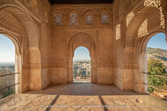 Granada Through Windows of The Generalife (john@johnrobertsimages.co.uk) Tags: castle arch building window old andalusia andalucia home generalife granada spain arched travel architecture city tourism alhambra landmark europeanunion fortification es