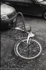 Dismembered (St. Valentine) Tags: leicam4p leica m4p kentmere400 d76 epsonv850 lightroom photoshop 7artisans voigtländerheliarclassic voigtländer heliar classic blackwhite schwarzweis bw film analog analogue bicycle bike urbandecay technology wreck city hamburg fahrrad abandoned