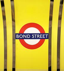 Bond Street (R~P~M) Tags: train railway station london londonunderground england uk unitedkingdom greatbritain bondstreet jubileeline sign nameboard roundel