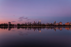 In the Distance (Jared Beaney) Tags: canon canon6d australia australian photography photographer travel melbourne city cityscapes cityscape albertpark albertlake reflections reflection sunset bluehour