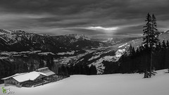 Last one at the Alm (Stuart_Byles) Tags: hut skiing alm schladming alps austria mountains blackwhite bw snow styria clouds