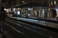 . (Le Cercle Rouge) Tags: lyon night nuit darkness light humans france tramway station people