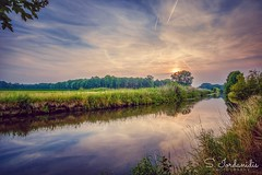 Sunset River (Stathis Iordanidis) Tags: reflections amazinglandscape greencolor tranquility silence serenity nature countryside grassland grass wachtendonk niers riverside river sundown sunset