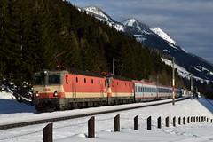 1144 092 + 1144 117, IC 591 ( Villach > Salzburg ). Penk (M. Kolenig) Tags: 1144 schachbrett tauernbahn schnee baum wald berg