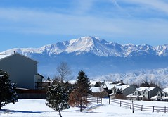 Our City's Most Notable Asset (Patricia Henschen) Tags: pathscaminhos mountains mountain pikespeak clouds snow winter fence trail neighborhood city urban colorado coloradosprings