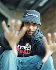 Strizzy Strauss (fraser_west) Tags: portrait film analog uk hiphop artist 120 6x7 mamiya mamiyarz67 rz67 naturallight promo leicester wetheconspirators kodak portra400