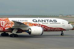 "Qantas Airways Boeing 787-9 ""Yam Dreaming"" Livery VH-ZND (Manuel Negrerie) Tags: qantas airways boeing 7879 yamdreaming livery vhznd closeup aviation dreamliner qfa 787 graphic hkg airport transportation travel australia painting art arboriginal canon plane"